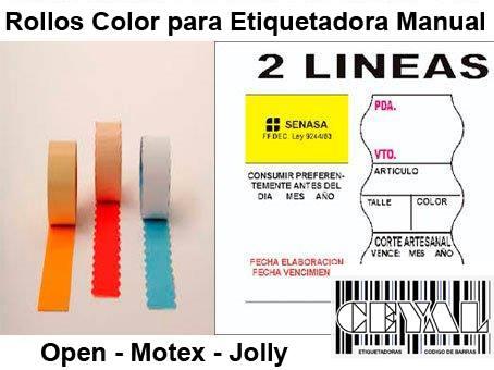 Rollos color para etiquetadora manual