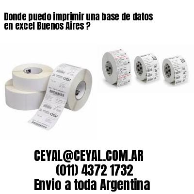 Donde puedo imprimir una base de datos en excel Buenos Aires ?