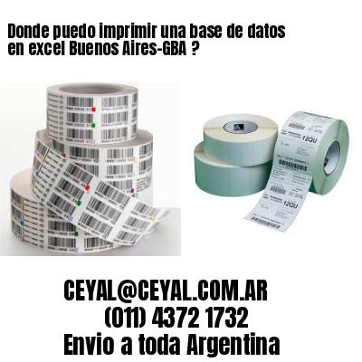 Donde puedo imprimir una base de datos en excel Buenos Aires-GBA ?
