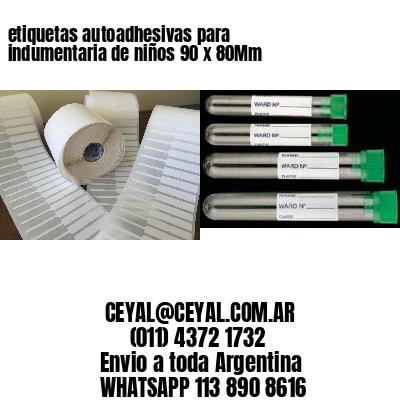 etiquetas autoadhesivas para indumentaria de niños 90 x 80Mm
